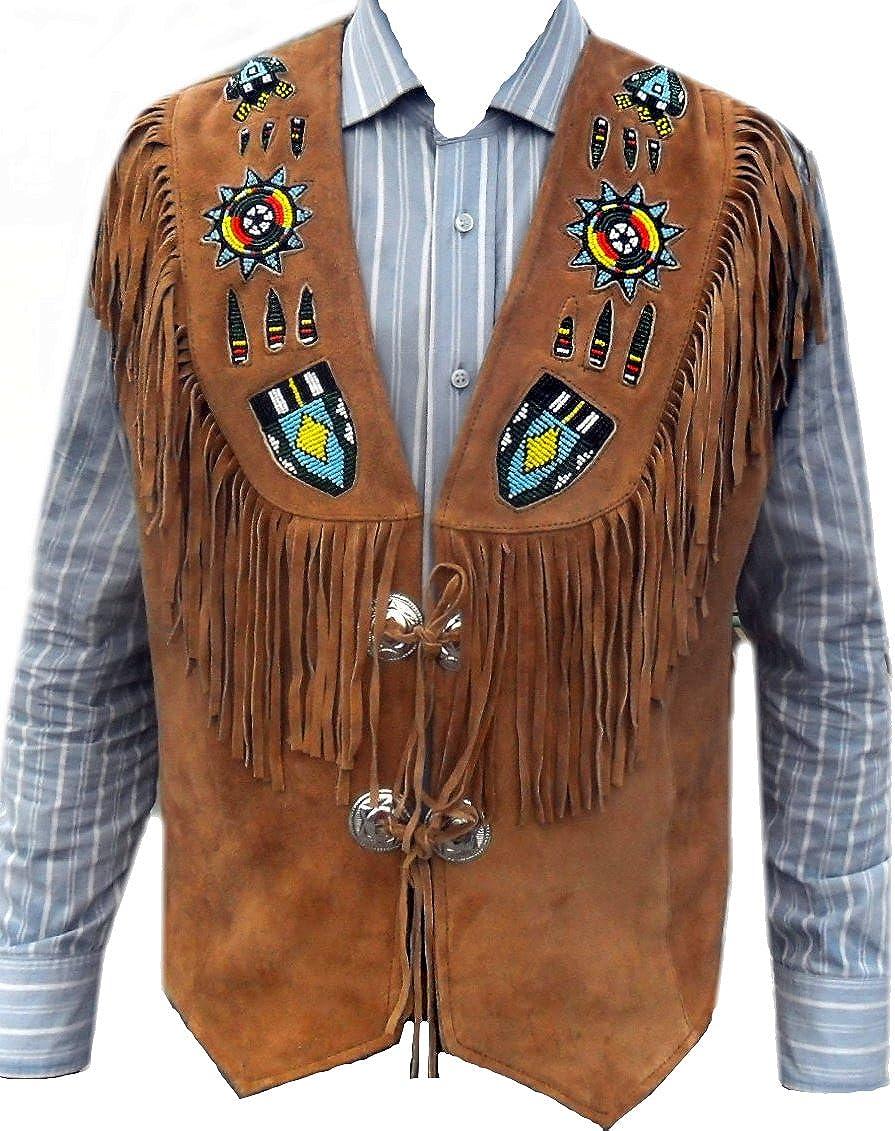 coolhides Men's Indian Western Leather Vest Fringed & Beaded