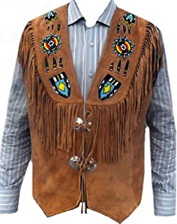 Western Genuine Leather Vest, Excellent Beads Work & Fringed, Xs-5xl