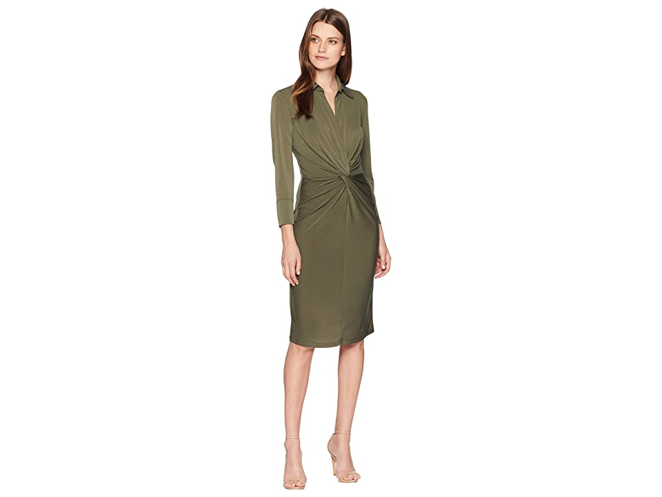 Taylor Collar Elbow Sleeve Knot Jersey Dress (Olive) Women