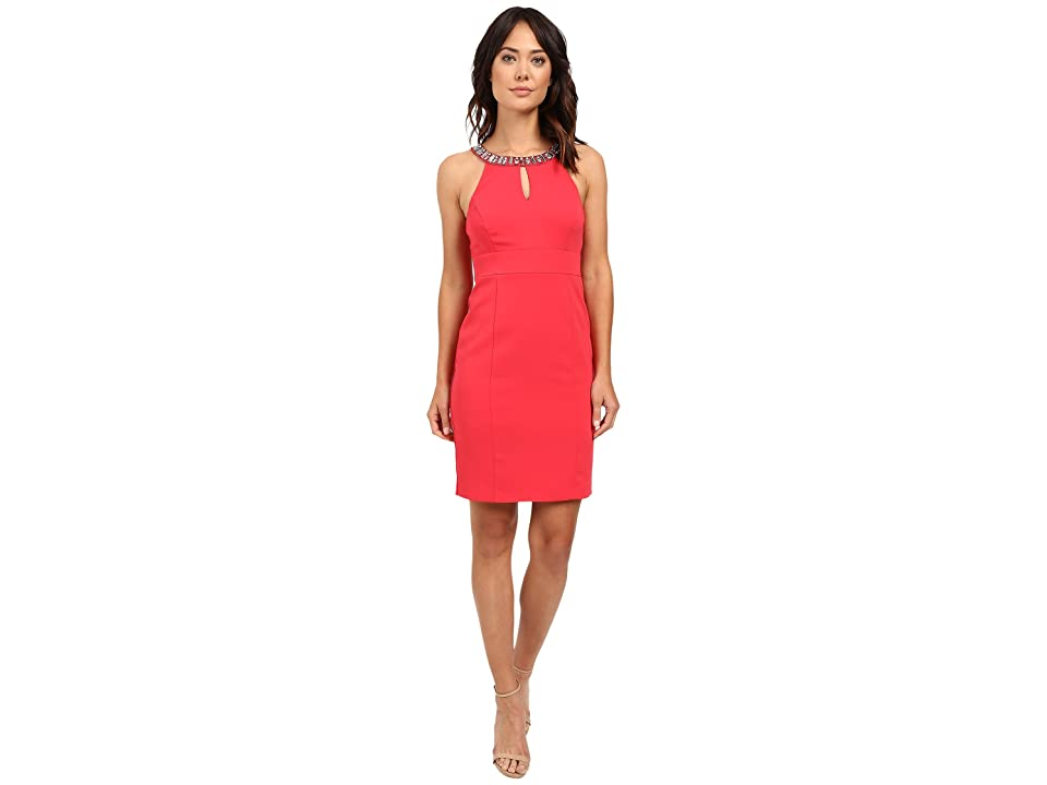 Laundry by Shelli Segal Montreal Stretch Embellished Neck Cutaway Cocktail Dress (Coral Rage) Women