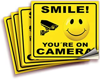 Smile You're On Camera Signs Stickers – 4 Pack Reflective Silver 7x6 Inch – Premium Self-Adhesive Vinyl, Decal, Laminated ...