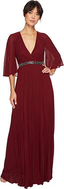 Laundry by Shelli Segal - Cape Chiffon Gown with Beaded Waist