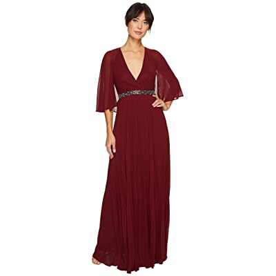 Laundry by Shelli Segal Cape Chiffon Gown with Beaded Waist (Deep Garnet) Women