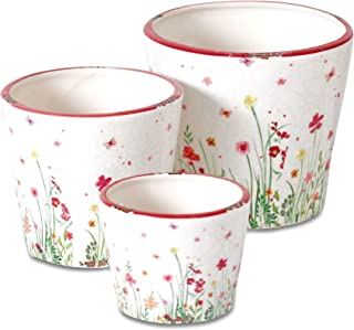 Sweetheart Meadow Garden Pot Planters, Set of 3, Vintage Style, Crackle Glaze, Exposed Terracotta Patches, Rustic White, Red and Green Floral Accents, 6.25, 5.5 and 4 Inches, Ceramic