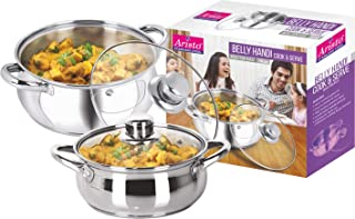 Aristo Stainless Steel Double Cook and serveware Set-Induction Bottom with Glass Lid, Exclusive 2 Pcs Handi Set- 800ml-1400ml