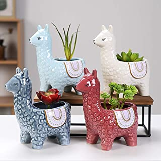 Ceramic Animal Succulent Planter Pots - 4 Packs 6 inch Cute Alpaca/Llama & Goat Rough Pottery Unglazed Desktop Flower Plan...