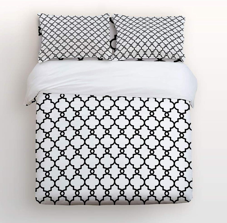 USOPHIA Full Size 4 Pieces Bed Sheets Set, Classic Mgoldccan Geometric Lattice Pattern 3D Print Floral Duvet Cover Set