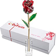 DEFAITH Gold Dipped Rose, Real Fresh Roses Originally Preserved 24k Gold Plated, Unique Forever Love Gift for Her Wife Girlfriend Fiancee Spouse Anniversary Valentine's Day Christmas with Crystal Base