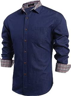 Men's Casual Dress Shirt Button Down Shirts Long-Sleeve Denim Work Shirt