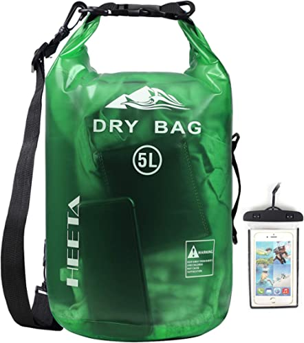 HEETA Waterproof Dry Bag for Women Men, 5L/ 10L/ 20L/ 30L/ 40L Roll Top Lightweight Dry Storage Bag Backpack with Pho...