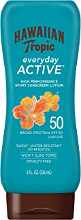 Hawaiian Tropic Island Sport Sunscreen Lotion, Lightweight, Broad Spectrum SPF 50, 8 Fl Oz