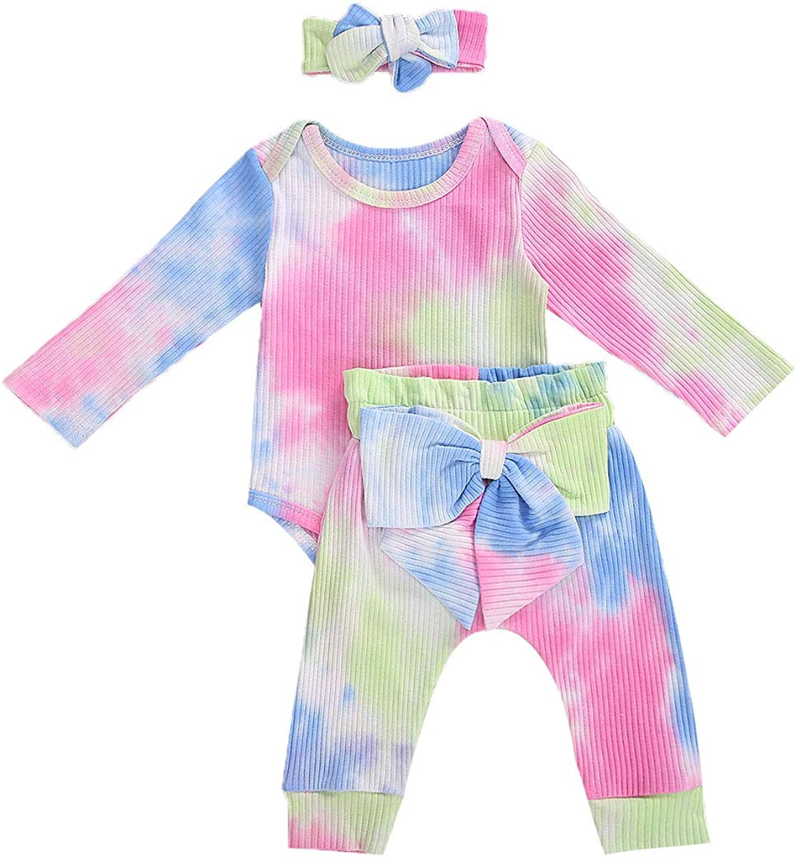Boys New life Girls Tie-Dye Print Outfit Set Jacksonville Mall Romper Long To Sleeve Button
