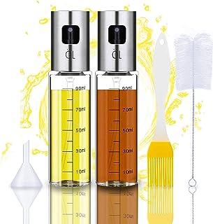 Lot de 2 vaporisateurs d'huile d'olive pour la cuisson - 4 en 1 - Rechargeable - Pour huile et vinaigre - Avec pinceau à p...