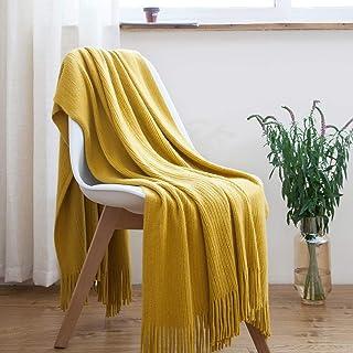 TREELY Mustard Throw Blanket Textured Knitted Throw Blanket with Tassels Fringe, Soft & Warm(50 x 60, Mustard Yellow)