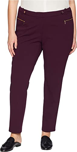 Plus Size Crepe Scuba Pants with Hardware