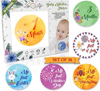 Premium Baby Monthly Stickers - 36 Pack | 14 Baby Age Stickers + 9 Baby Milestone Stickers + 13 Baby Holiday Stickers | Size Adjusted to Baby's Growth Cycle | Perfect Baby Shower Gift | Gender Neutral