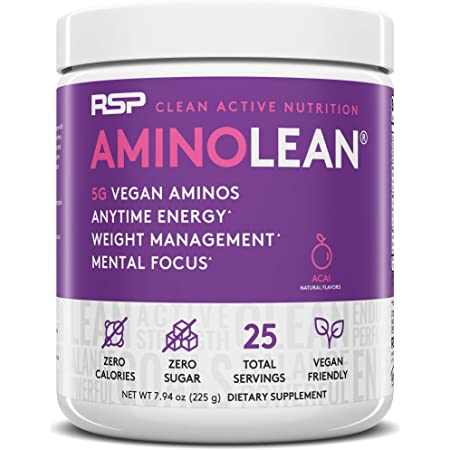 RSP Vegan AminoLean - All-in-One Natural Pre Workout, Amino Energy, Weight Management - Vegan BCAAs, Preworkout for Men & Women, Acai, 25 Serv