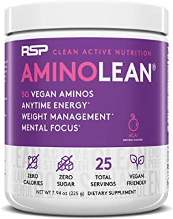 RSP Vegan AminoLean - All Natural Preworkout with Vegan BCAAs, All-In-One Amino Energy, Weight Management, Recovery, and F...