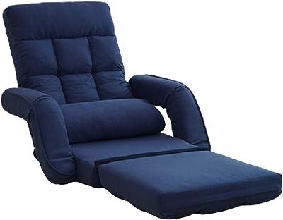 タック 座椅子 3way 肘掛け付 コンパクト ネイビー