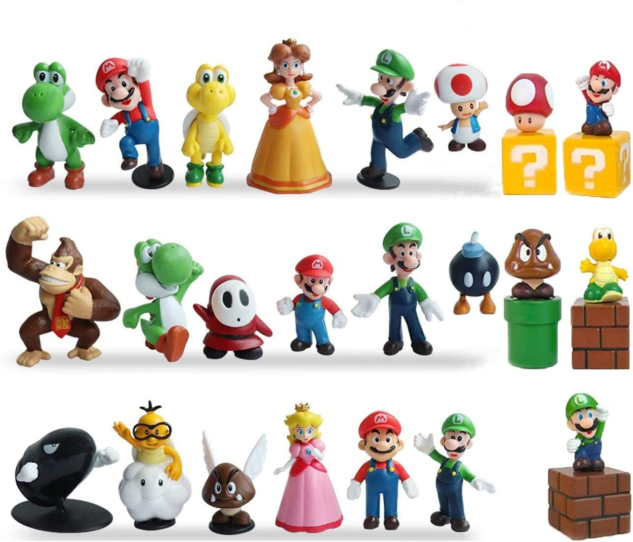 Super Mario Bros 10 Pcs Figure Luigi Toad Yoshi Wario Peach Cake Topper Toys