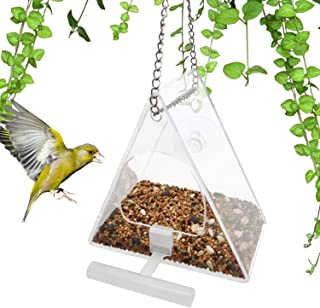 NONEMEY Window Bird Feeder - Triangle Bird House for All Wild Birds,Finch,Cardinal,and Bluebird.Strong Suction Cups and Se...