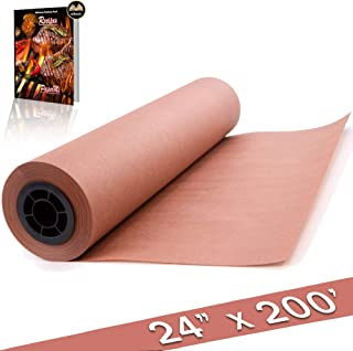 Pink Butcher Kraft Paper Roll Peach Wrapping Paper for Beef Briskets, BBQ Meat Smoking USA Made, All Natural FDA Approved Food Grade, Unbleached, Unwaxed, Uncoated Sheet (24