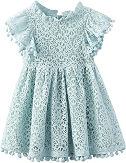Kids Girl Hollow Lace Dress pom pom Short Sleeve Princess Frilled Waist Dress