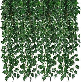 Kalolary 84 Ft 12 brins Artificielle Ivy Garland Feuille Vignes Plantes Verdure, Suspendre Faux Plantes, pour Toile De Fon...