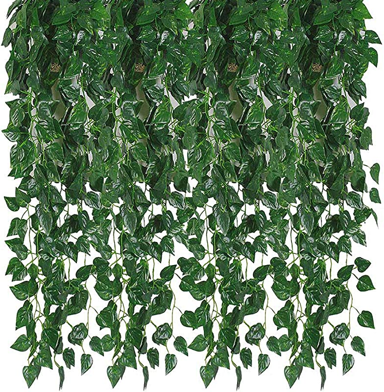 Kalolary 84 Ft 12 Strands Artificial Ivy Garland Leaf Vines Plants Greenery Hanging Fake Plants For Wedding Backdrop Arch Wall Jungle Party Table Office Decor Scindapsus