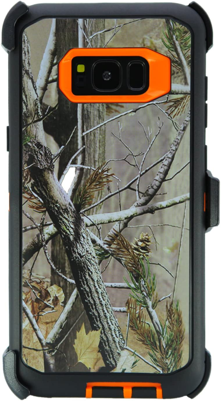 """WallSkiN Turtle Series Belt Clip Cases for Galaxy S8 Plus / S8+ (6.2""""), 3-Layer Full Body Life-Time Protective Cover & Holster & Kickstand & Shock, Drop, Dust Proof - Camouflage/Orange"""