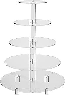 Jusalpha 5 Tier Round Acrylic Cupcake Stand-cake stand-dessert stand, cupcake Tower 5RFs (5 Tier With Base) (5RF-small)