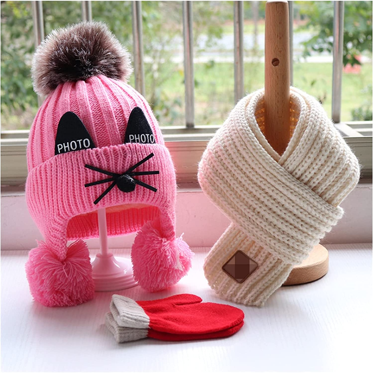 Kids Hats and Scarf Omaha Mall Baby Set Cap Girl Child Free shipping on posting reviews Winter Boy