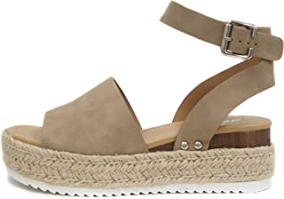 Soda Topic Open Toe Buckle Ankle Strap Espadrilles Flatform Wedge Casual Sandal