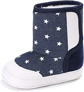 Weixinbuy Newborn Baby Boy's Colorful Anti-Slip Soft Sole Winter Warm Fleece Boot Crib Shoes Prewalker