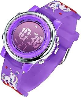Kids Watches Girls Watch Ages 3-12 Toddler Digital Sports Waterproof 3D Cartoon 7 Color Lights Wrist Watch for Girls Littl...