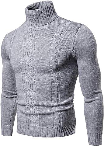 Jersey de Cuello Alto Jacquard Slim Fit Suéter de Manga Larga para Hombre