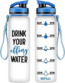 LEADO 32oz 1Liter Motivational Tracking Water Bottle with Time Marker - Drink Your Effing Water - Fun Birthday, Just Because Gifts for Her Women, Men, Wife, Husband, Mom, Dad - Drink More Water Daily