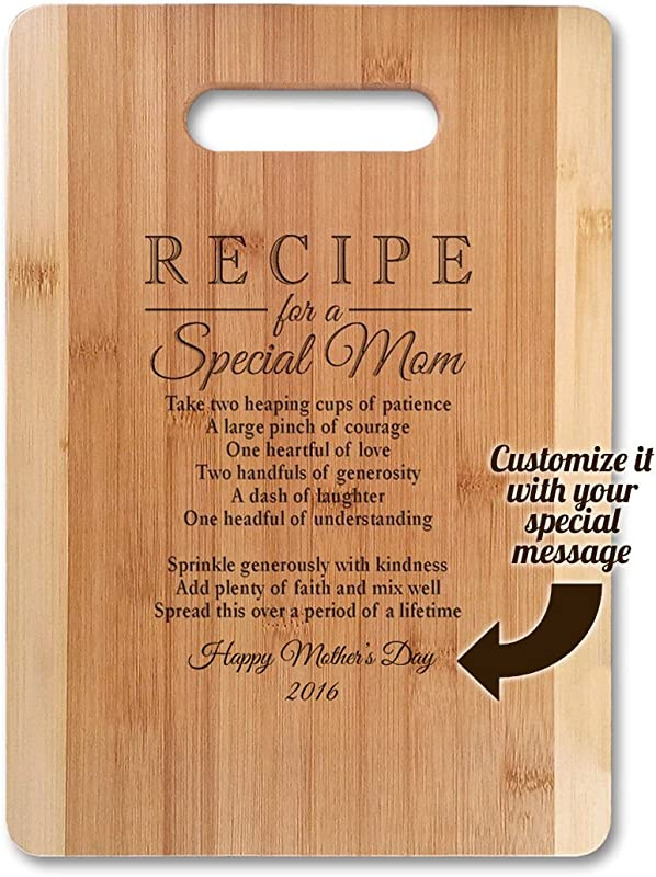 GIFT FOR MOM Recipe For A Special Mom Small 11 X 8 5 Customized Bamboo Serving Cutting Board For Mothers Day Birthday Or Christmas