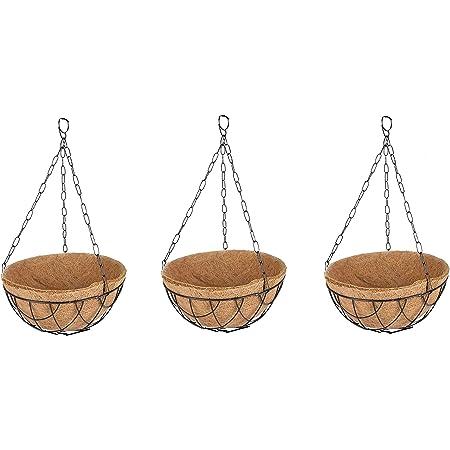 Coir Hanging Pot 10 inch Metal Hanger with Coir Liner Pack of 3 - TT Traders