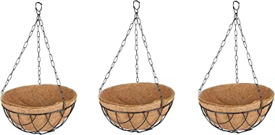 Coir Hanging Pot 10 inch Metal Hanger with Coir Liner Pack of 3 - TT Traders