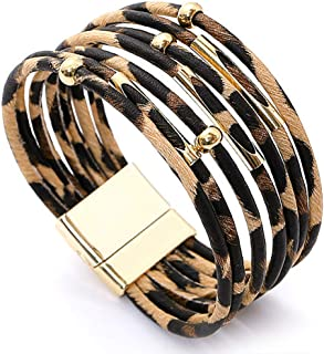 Sponsored Ad – Suyi Womens Leopard Bracelets Wide Leather Wrap Bracelet Multilayer Cuff Bracelet