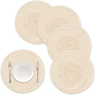 Round Braided Placemats Set of 5PCS Round Table Mats Woven Heat Resistant Table Mats for Dining Tables