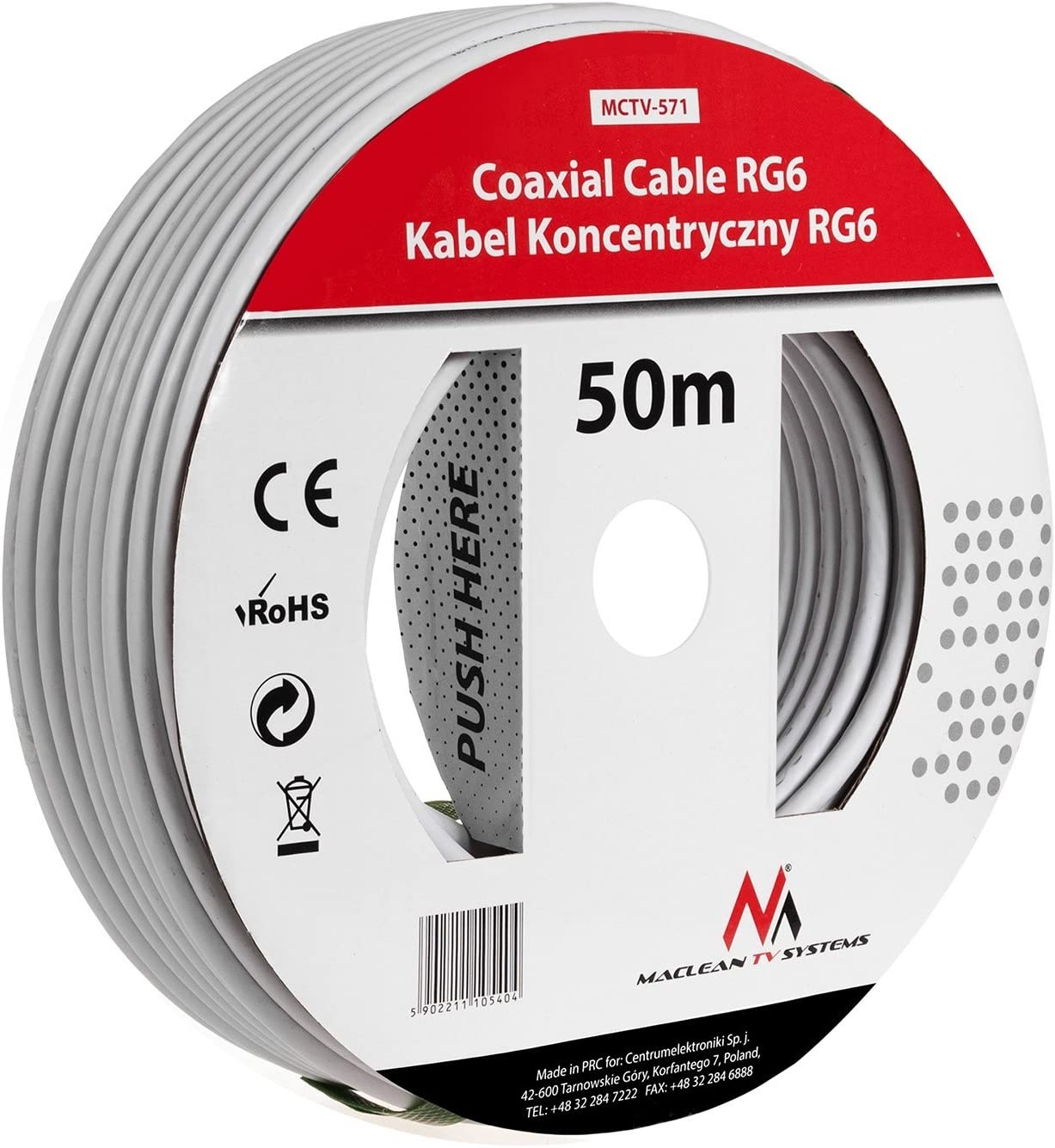 Maclean MCTV-574 - Cable coaxial de antena (25 m, RG6 1.0CSS, SAT)