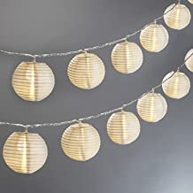 Mini Lantern String Lights - 20 White Nylon Hanging Lanterns with Warm White Bulbs Included, 13 Feet Long, Waterproof for ...