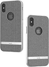 Moshi Vesta for iPhone Xs/iPhone X - Protective Fabric Case, Military-Grade Drop Tested, Resists Dirt and Scratches,Wireless Charging (Herringbone Gray)