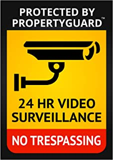 6 No Trespassing Surveillance Warning Large Security System Decals 4x6 inches