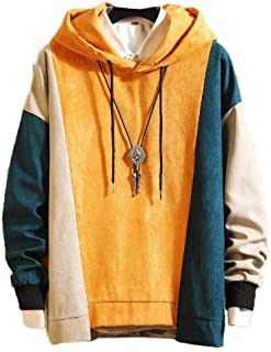 neveraway Men's Autumn Patched Plus Size Hit Color Long Sleeve Hooded Sweatshirt