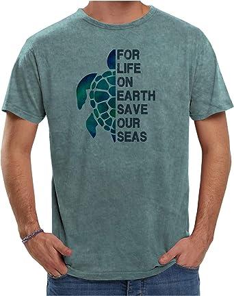 Camiseta 100% algodón con Efecto Desgastado Color Verde Agua