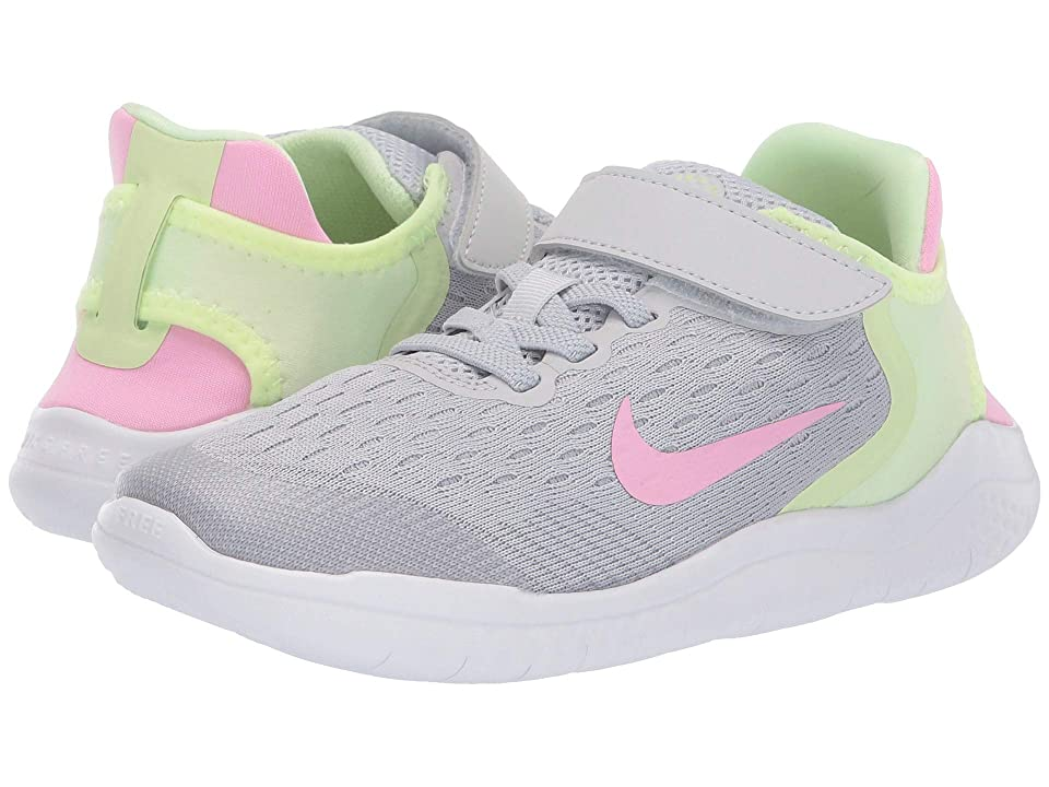 Nike Kids Free RN 2018 (Little Kid) (Pure Platinum/Pink Rise/Barely Volt) Girls Shoes