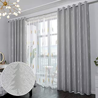 Hughapy Linen Blackout Curtains Embroideried Christmas...